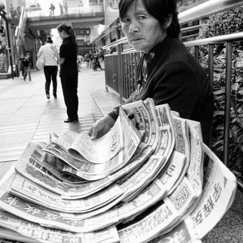 Newspapers lady