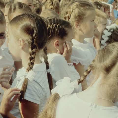 Girls. The first day at school