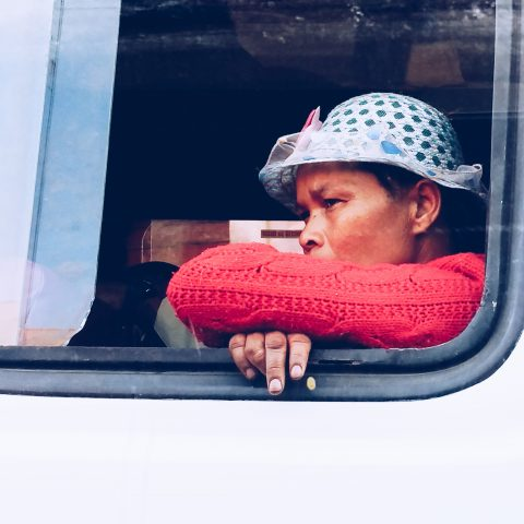 Woman in the bus